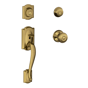 Camelot Double cylinder Handle set and Georgian Knob Antique Brass