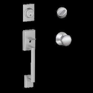 Century Satin Chrome Double Cylinder Deadbolt with Orbit Knob Door Handleset