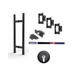 Matt Black Door Hardware Round Kit